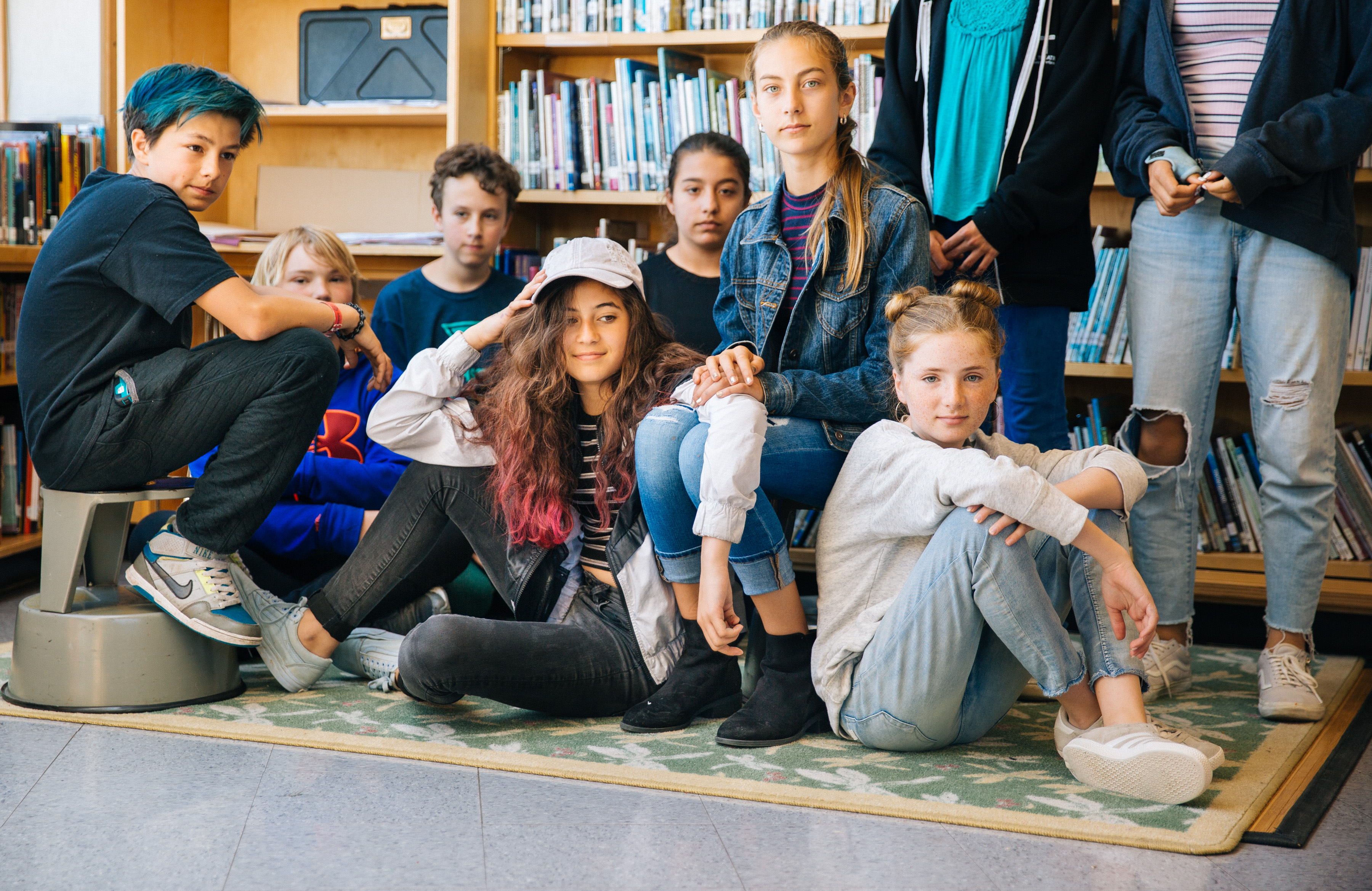 a group of children in a library