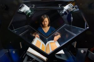 Woman scanning a book